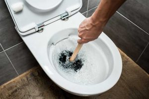 Toilet Unclogged with Plunger