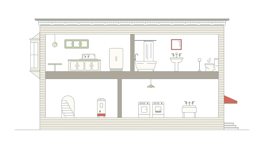 Cutaway of a House Showing Plumbing Fixtures in the Home